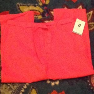 NWT Coral Linen Cropped Pants